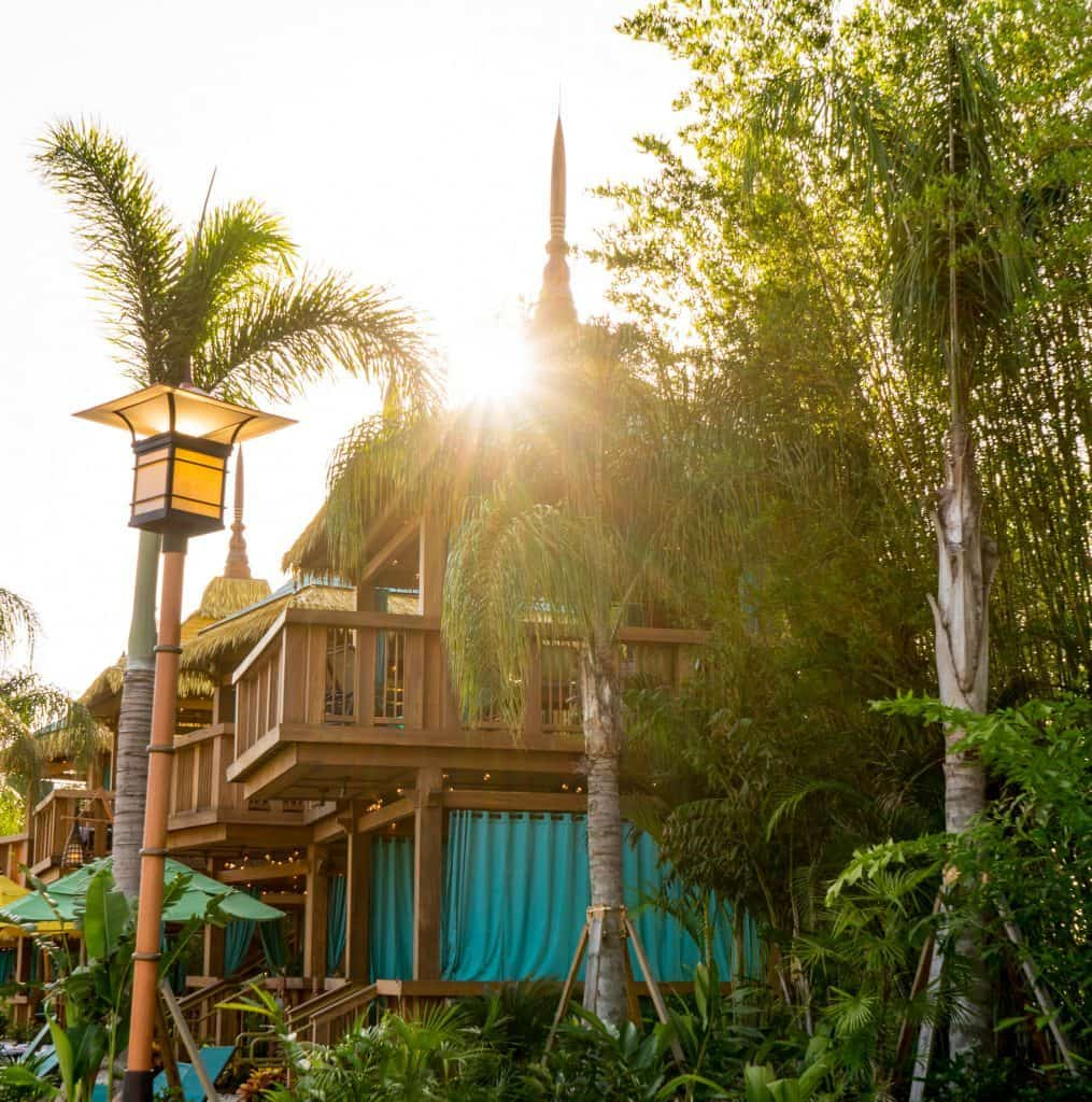 Sunrise over private cabanas at Universal's Volcano Bay