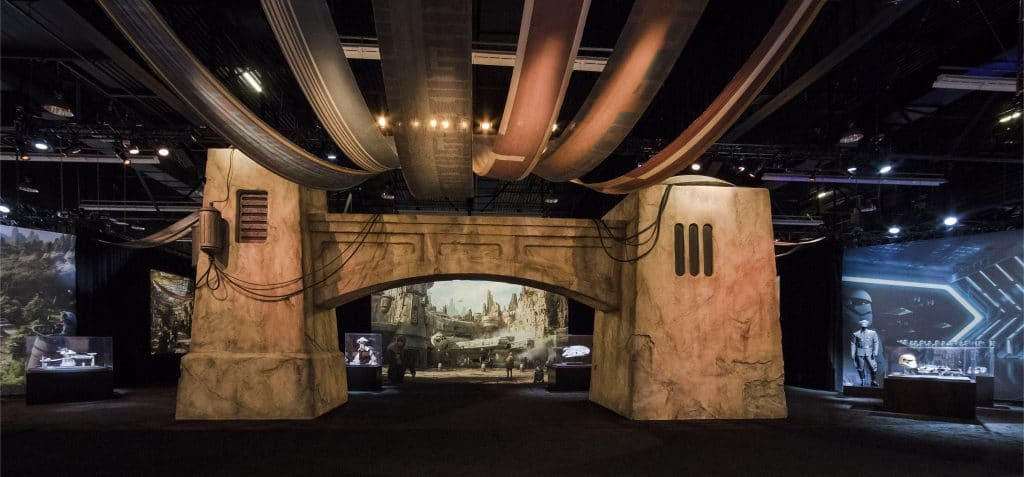 The entrance to the Star Wars Land pavilion at D23 Expo 2017