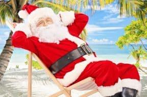 Santa Claus celebrating Christmas in July