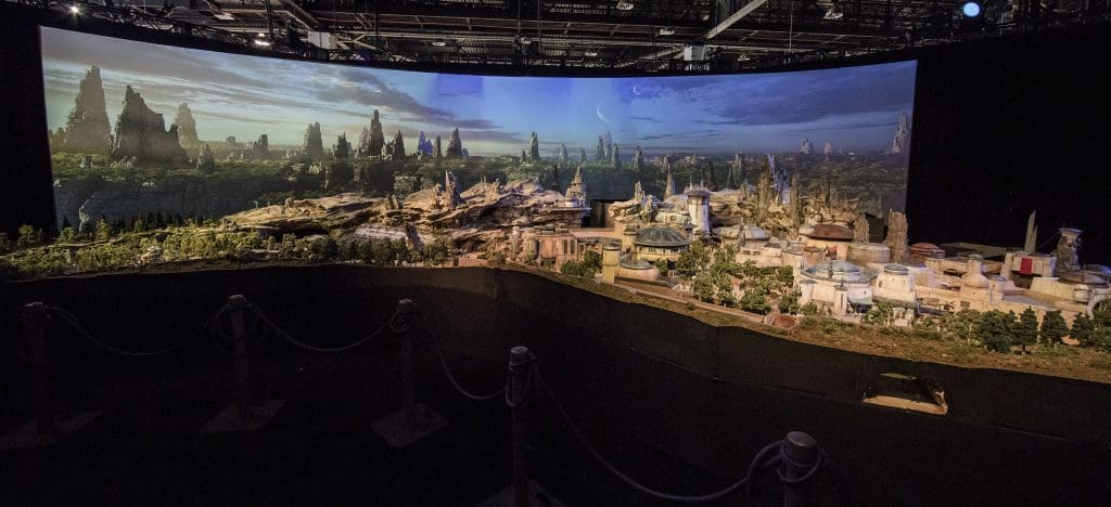 Overview of the Star Wars Land model at Hollywood Studios