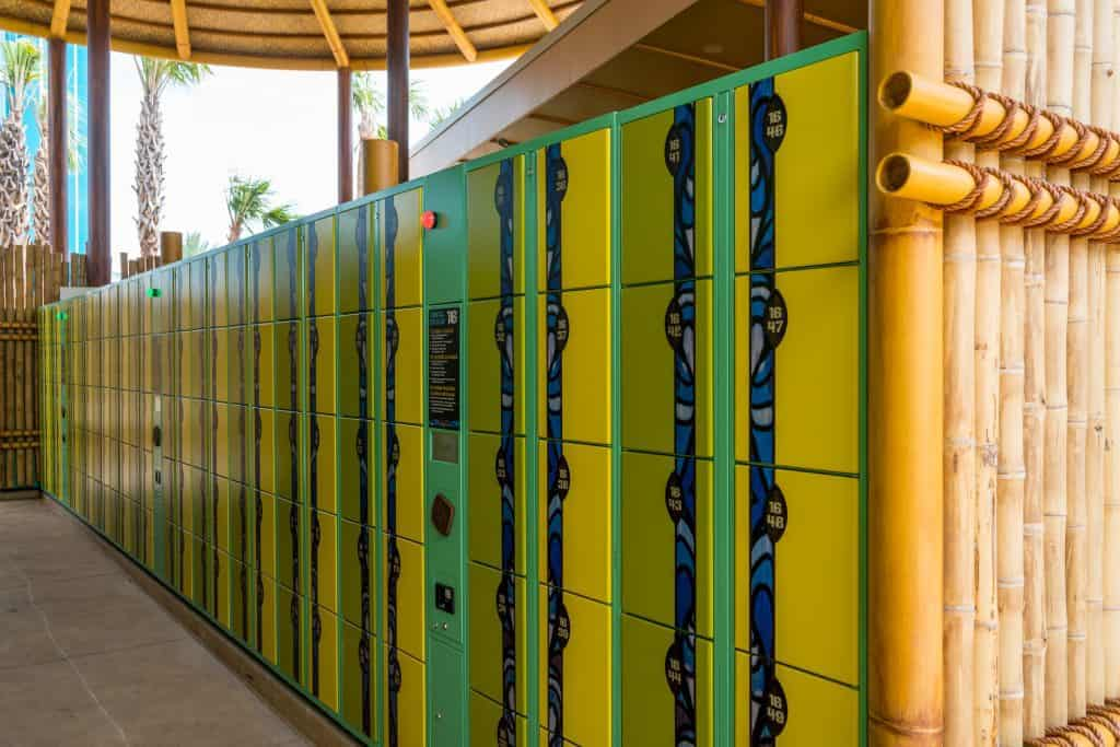 A set of lockers at Universal's Volcano Bay