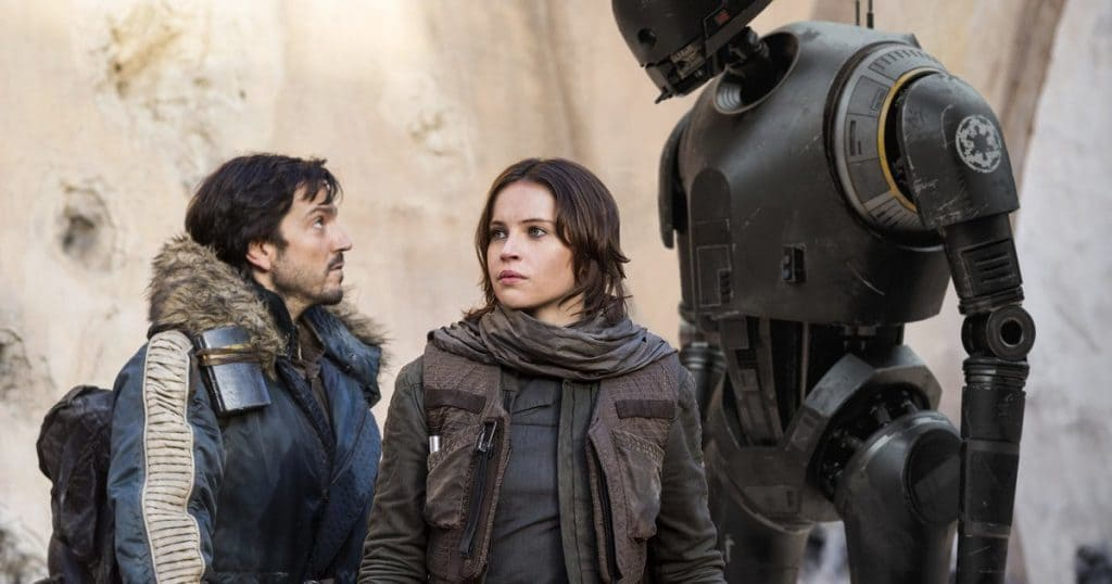 "Cassian Andor, Jyn Erso, and K-2SO in ""Rogue One: A Star Wars Story"""