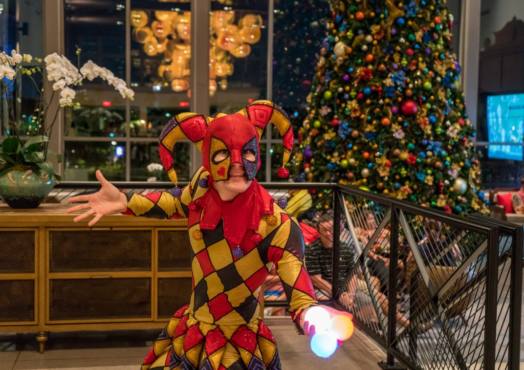 Entertainment at Sapphire Falls Resort's Christmas tree-lighting ceremony