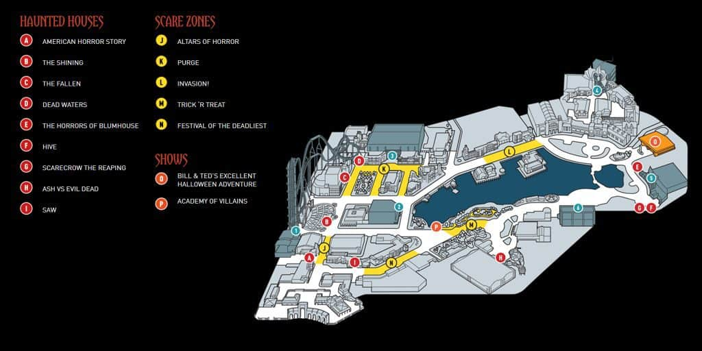 halloween horror nights 2017 map at universal orlando - Universal Halloween Night