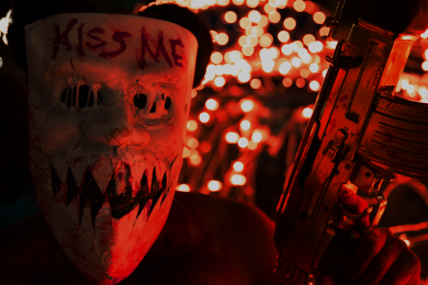 Kiss Me mask from The Purge