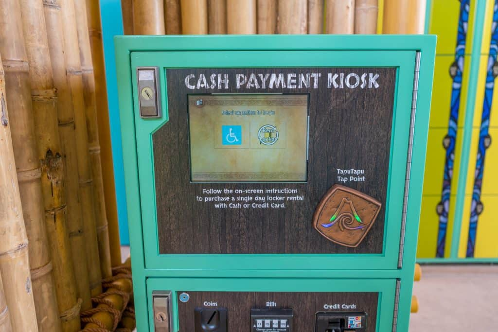 Locker cash payment kiosk at Universal's Volcano Bay