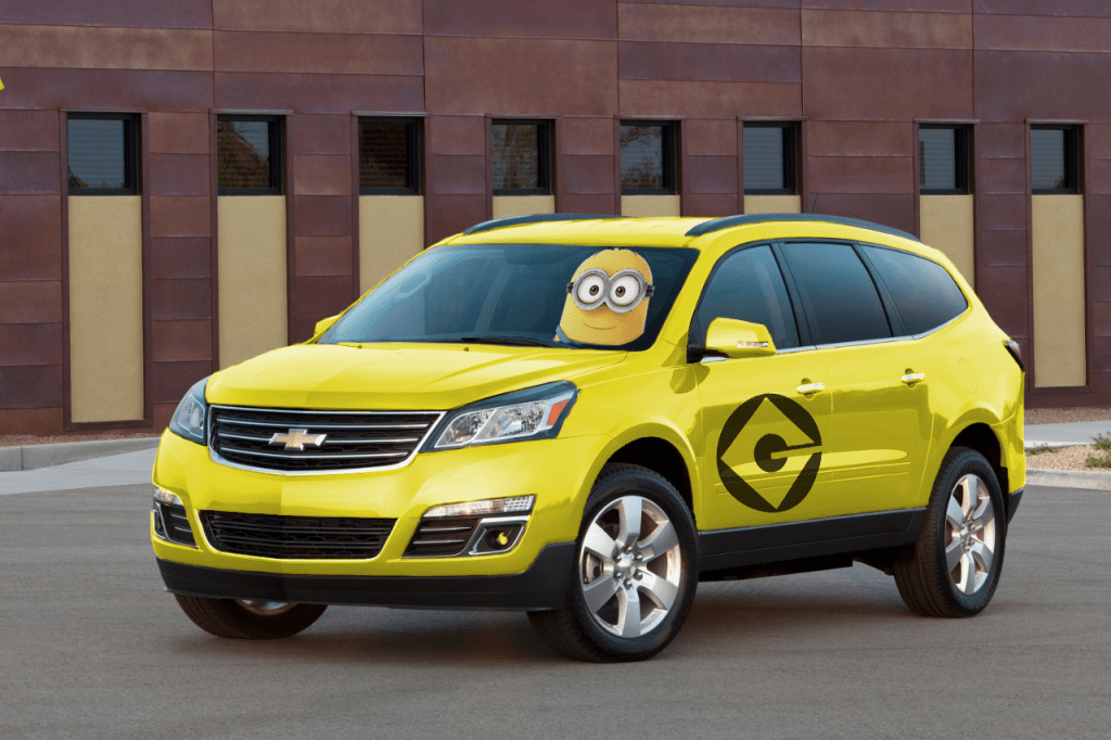 "Our in-house mock-up of Universal's hypothetical ""Minion Van"" service"