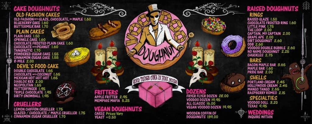 Voodoo Doughnuts CityWalk Hollywood's menu