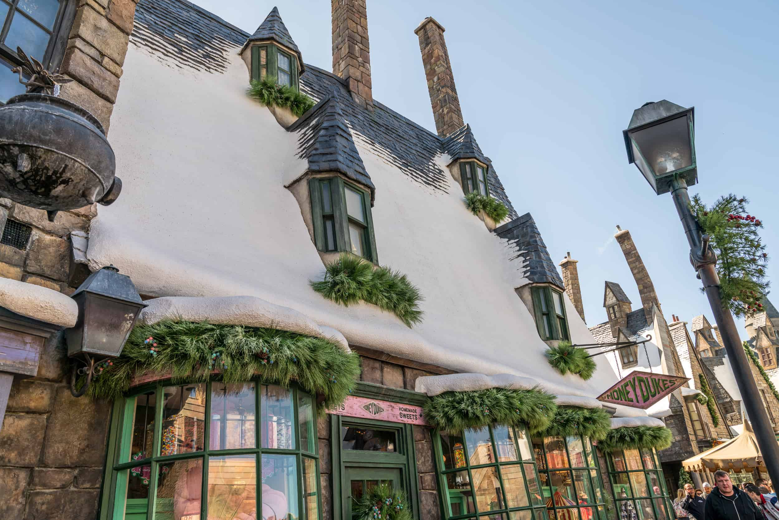 Our 3 favorite Hogsmeade areas decorated for a Harry Potter Christmas