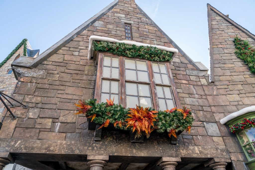 Hogsmeade holiday decorations for Christmas in The Wizarding World of Harry Potter
