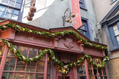 Quality Quidditch Supplies decorated for Christmas in The Wizarding World of Harry Potter