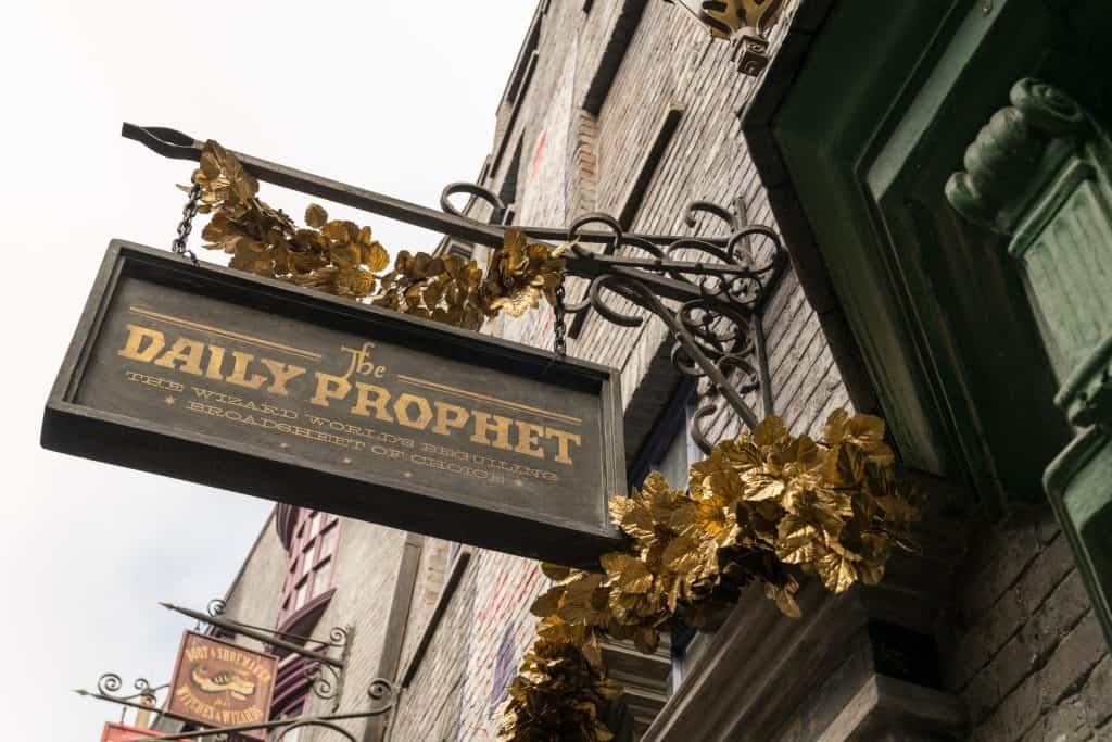 The Daily Prophet decorated for Christmas in The Wizarding World of Harry Potter