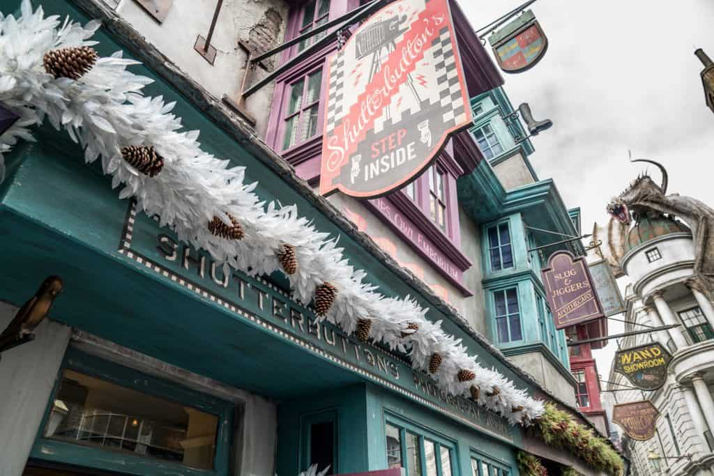 Shutterbutton's decorated for Christmas in The Wizarding World of Harry Potter