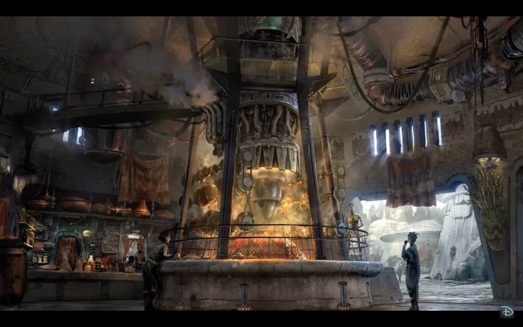 Concept art of Star Wars: Galaxy's Edge's cantina