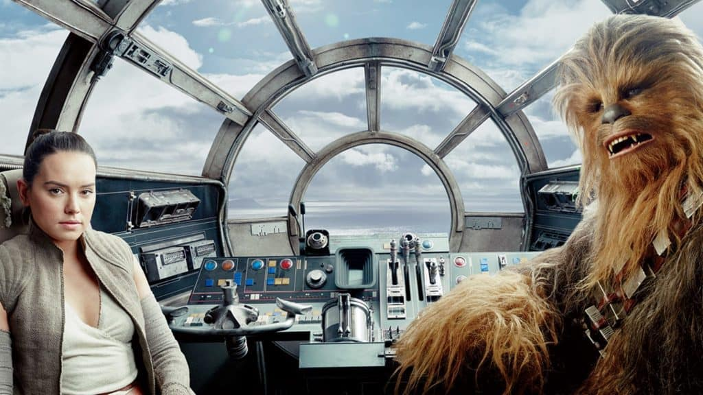 Rey and Chewbacca in the Millennium Falcon from Star Wars: The Force Awakens