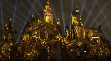 The Nighttime Lights at Hogwarts Castle