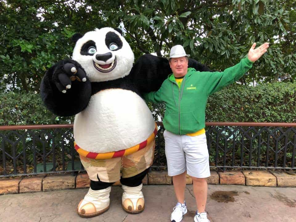Chuck Plagmann greeting Po at Universal's Islands of Adventure