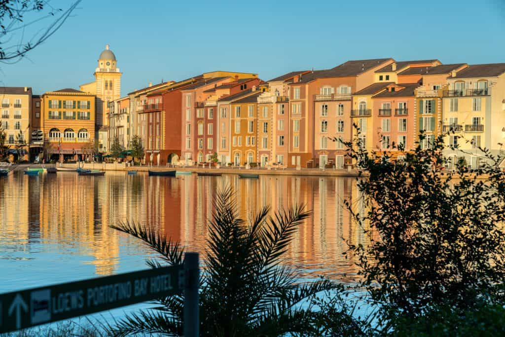 Exterior of the Portofino Bay Hotel