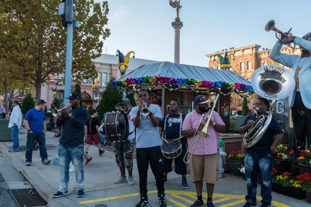 New Orleans band playing at Universal's Mardi Gras