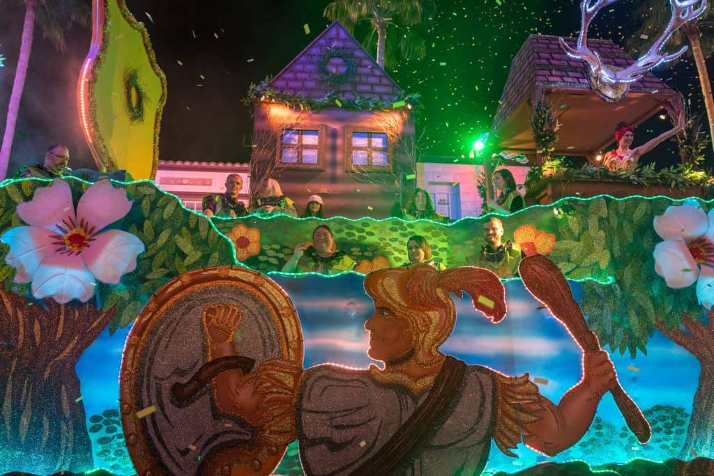 The Orion the Hunter float in Universal's Mardi Gras 2018 parade