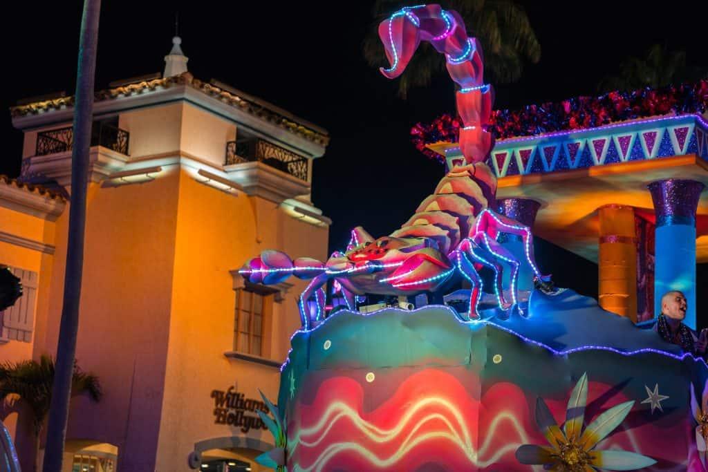 The Scorpius float in Universal's Mardi Gras 2018 parade