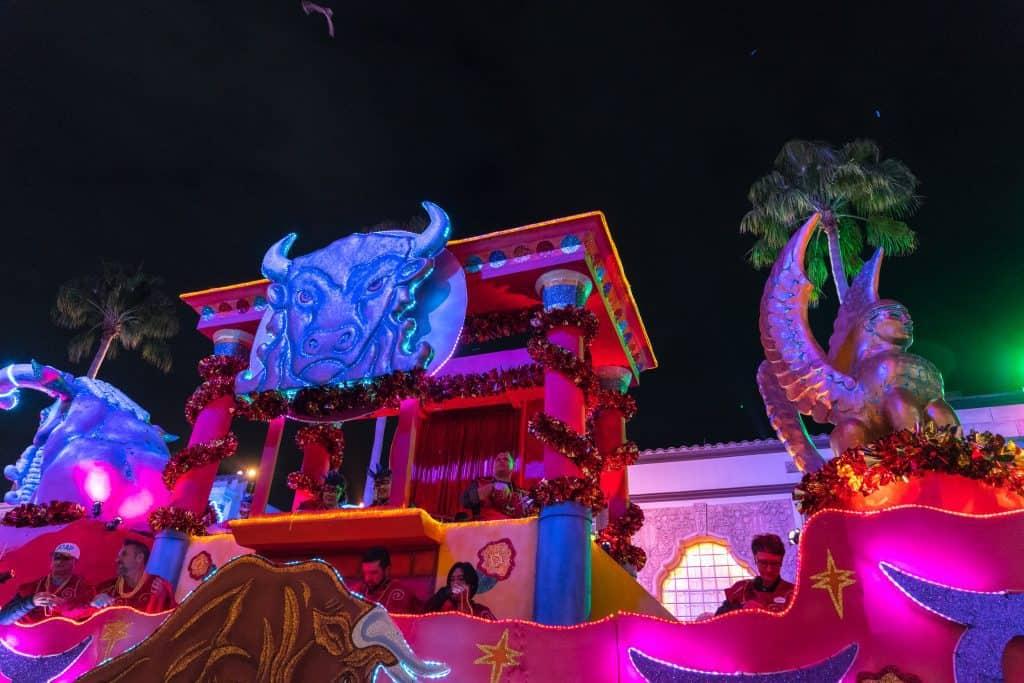 The Taurus float in Universal's Mardi Gras 2018 parade