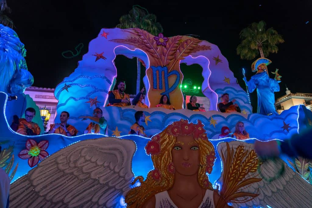 The Virgo the Maiden float in Universal's Mardi Gras 2018 parade