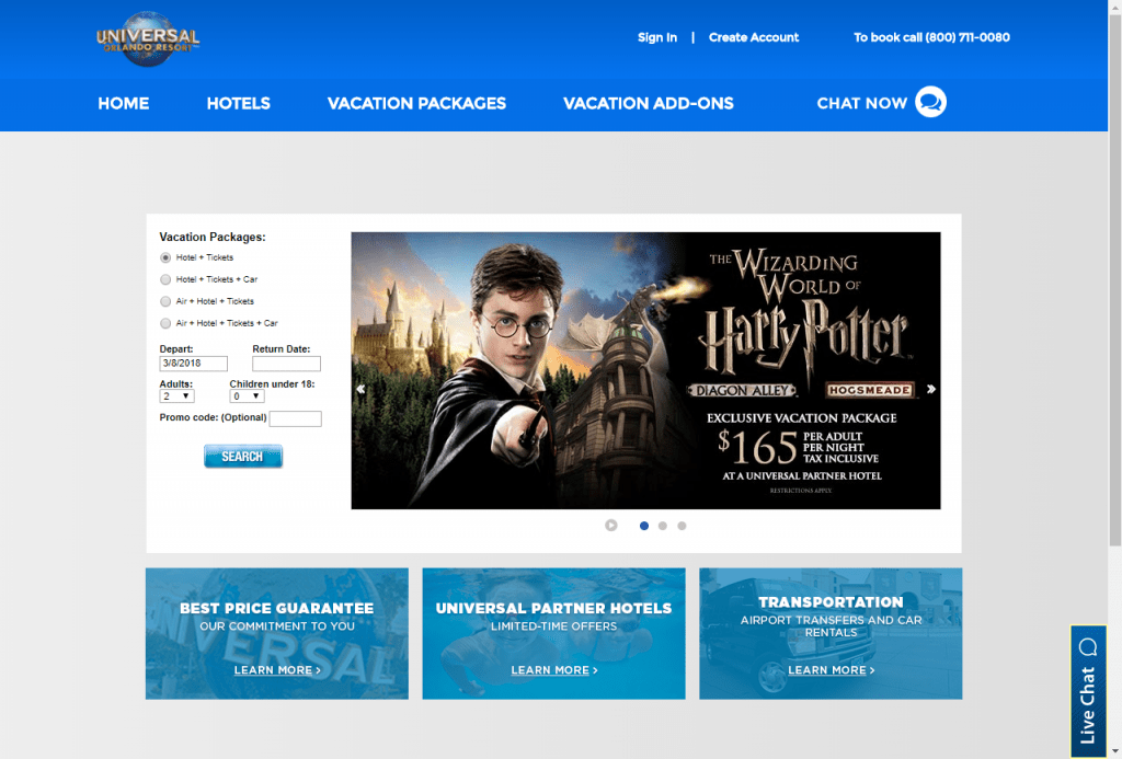 A screenshot of UniversalOrlandoVacations.com