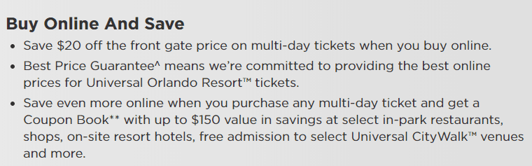 Benefits listed on Universal's website to purchasing tickets in advance