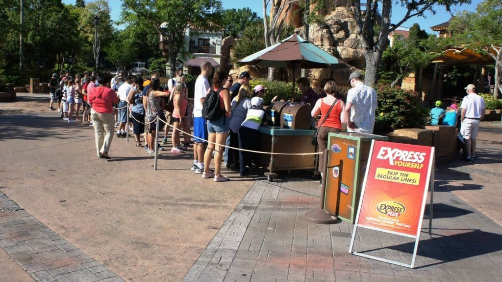 The Express Pass kiosks outside Universal's Islands of Adventure gates attract long lines.