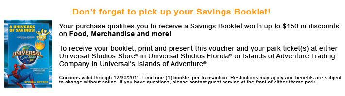 Savings booklet for $150 at Universal Orlando Resort
