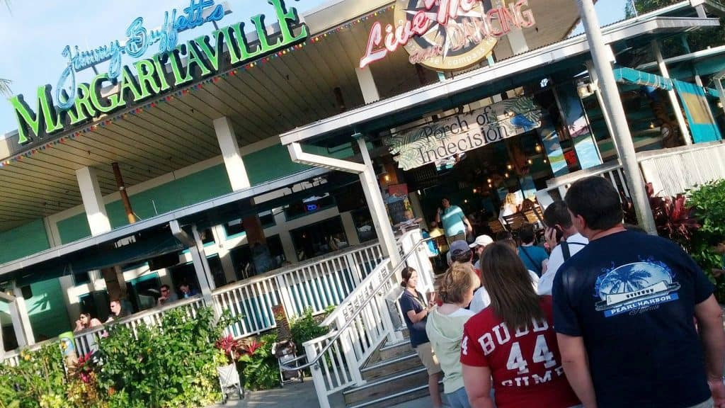 Line to get a table at Jimmy Buffett's Margaritaville at Universal Orlando CityWalk