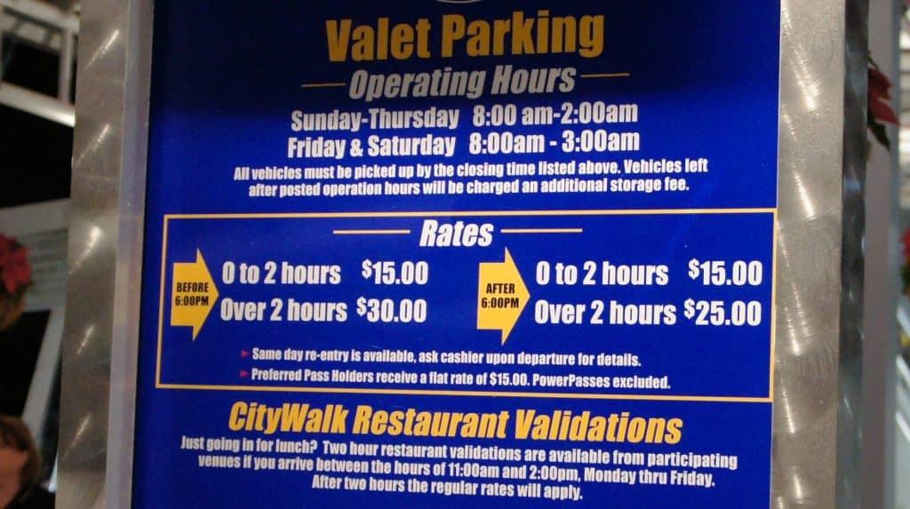 Universal Orlando's valet parking rates in December 2011
