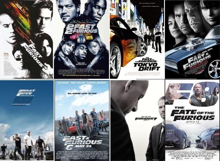 All eight Fast & Furious movie posters