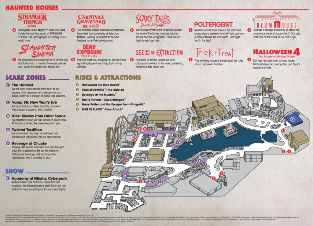 Halloween Horror Nights 2018 event map