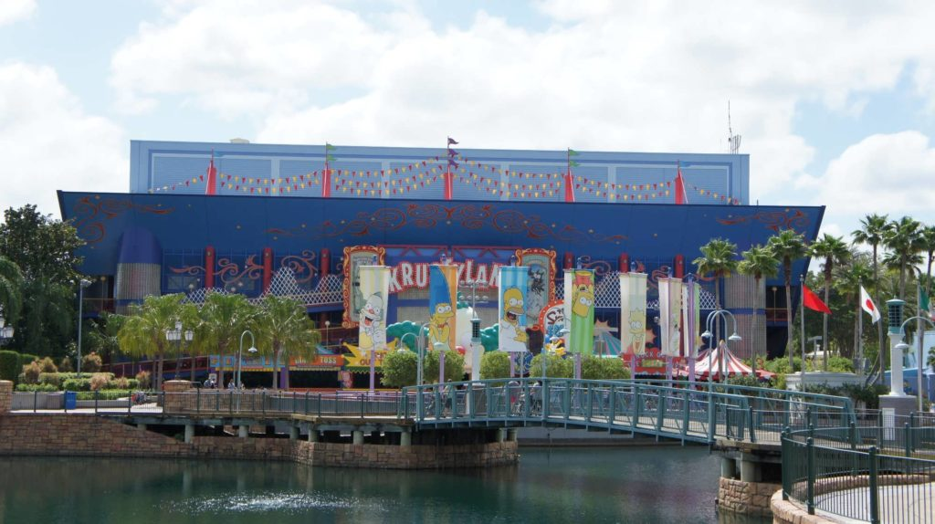 The Simpsons Ride in the World Expo area at Universal Studios Florida.