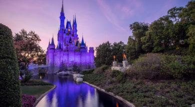 Cinderella Castle at sunset at Magic Kingdom