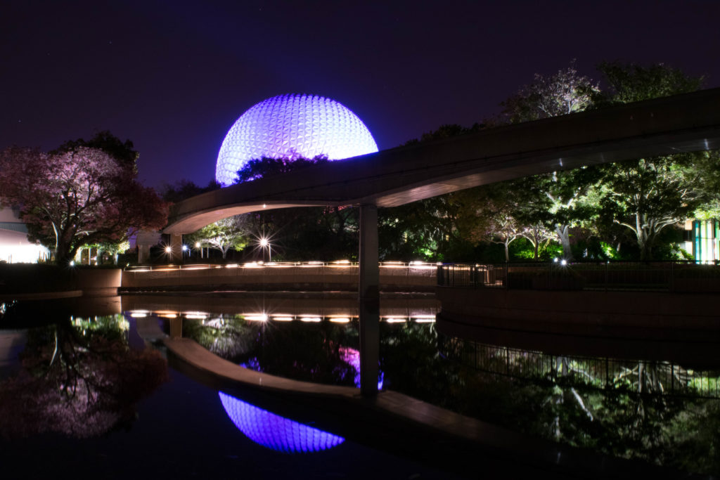 Spaceship Earth at night at Epcot