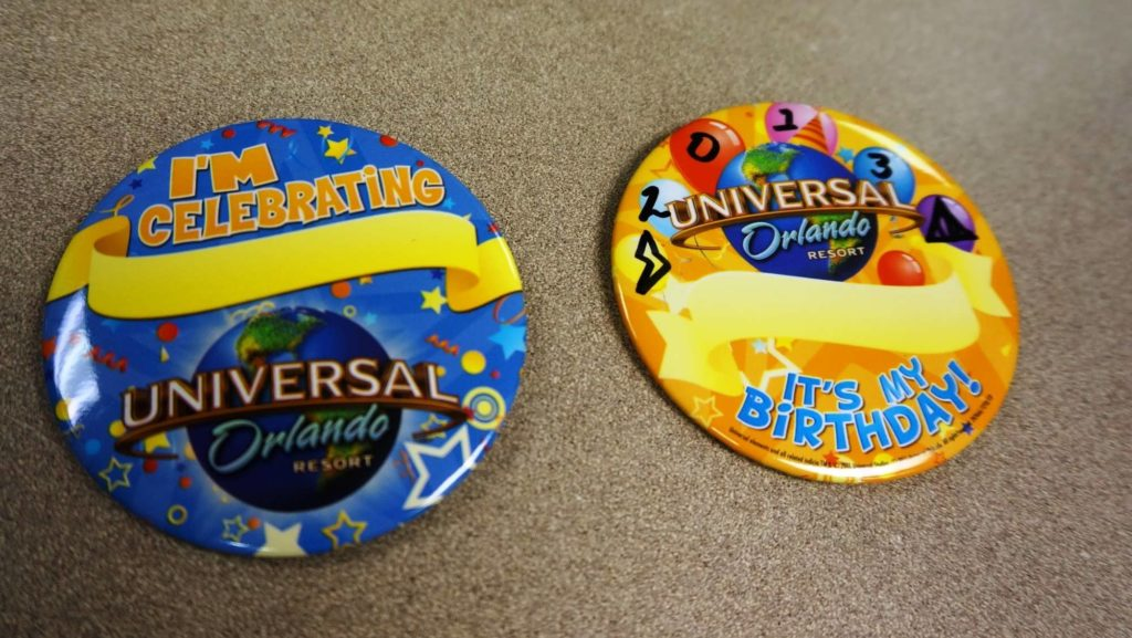 "Birthday and ""I'm celebrating"" buttons at Universal Orlando Resort"