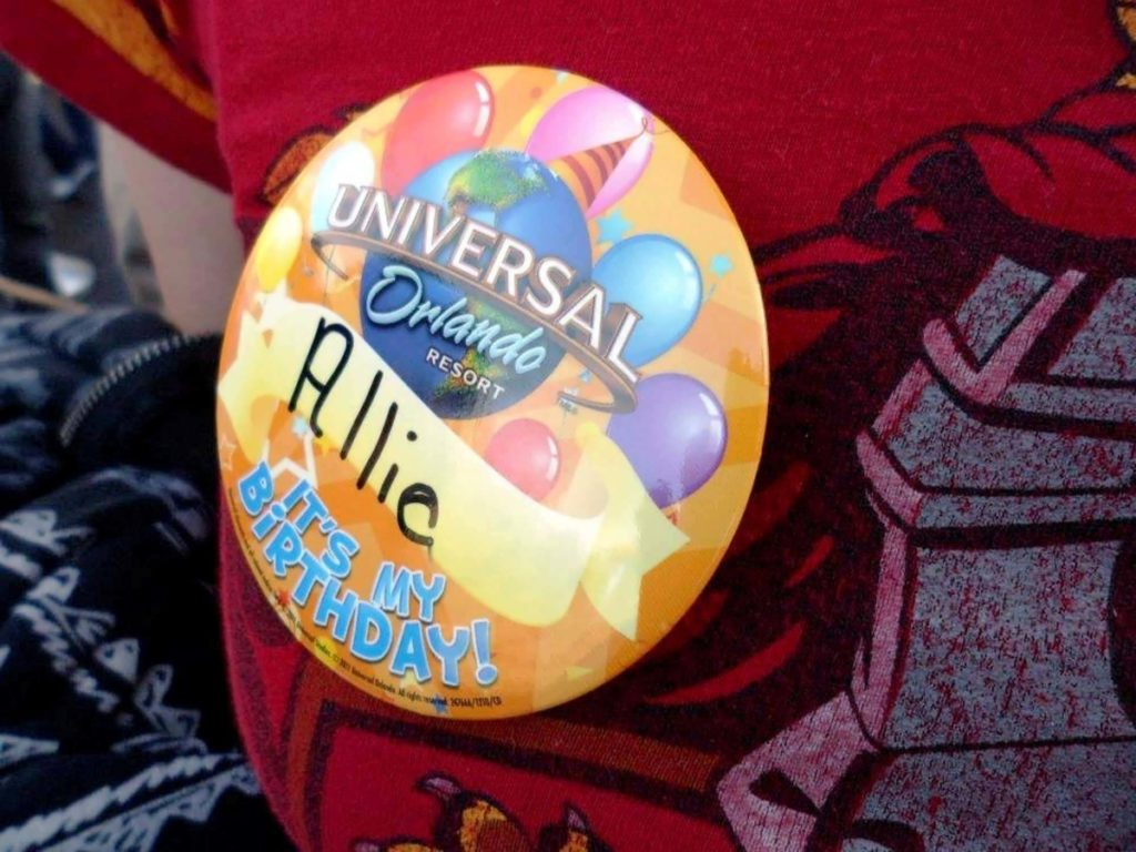 Birthday buttons at Universal Orlando Resort