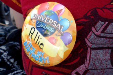 Birthday buttons at Universal Orlando Resort