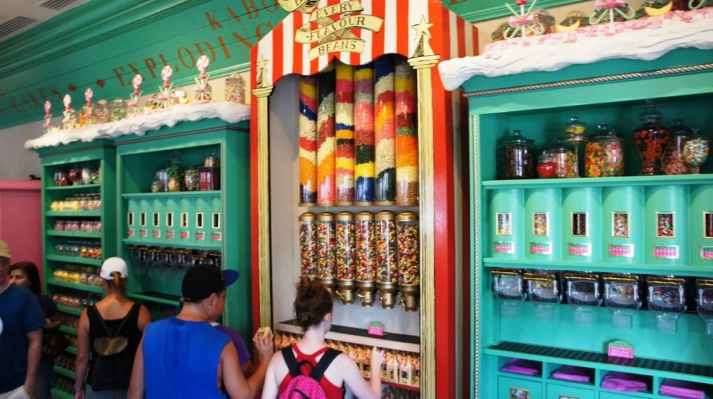 Honeydukes wall of candy