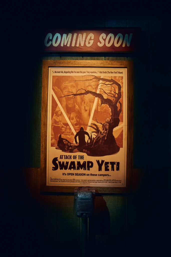 """Attack of the Swamp Yeti"" poster at Halloween Horror Nights 2018's Slaughter Sinema"