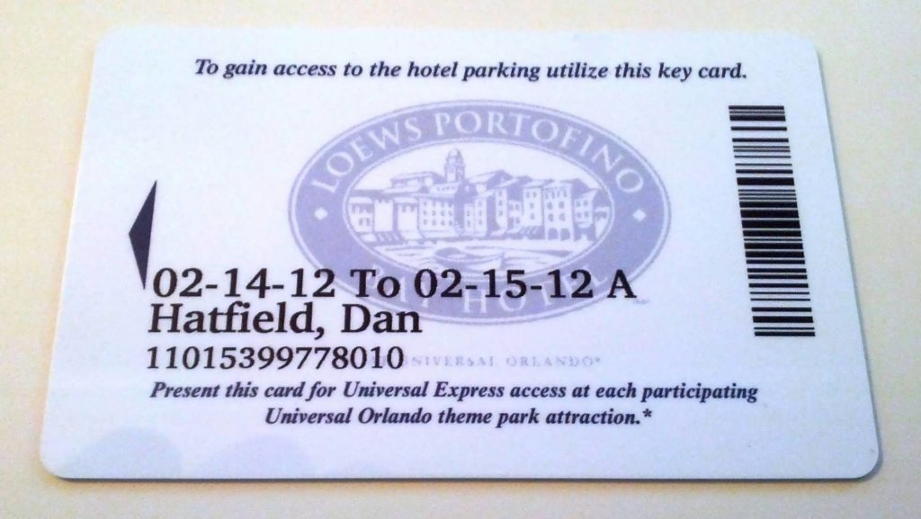 Portofino Bay Hotel room key