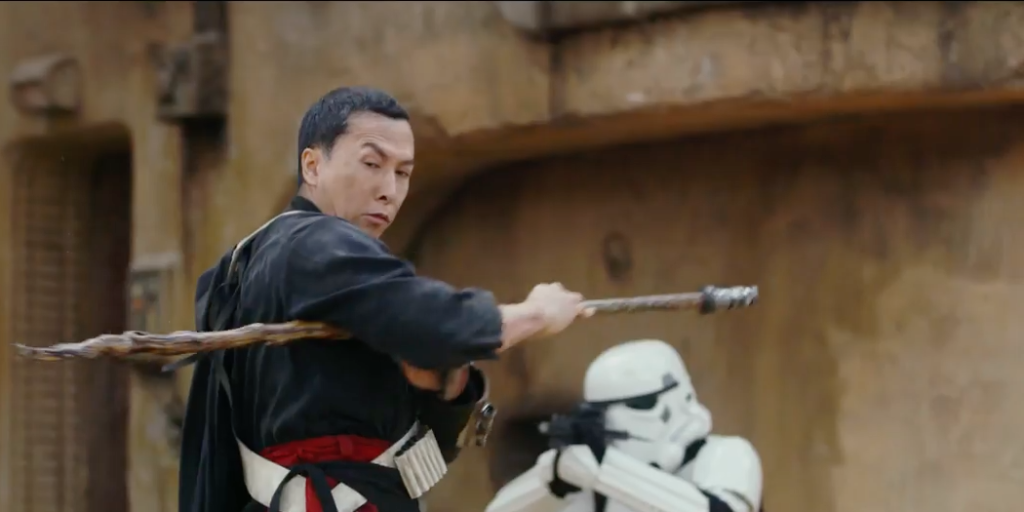 "Chirrut Imwe in action in ""Rogue One: A Star Wars Story"""