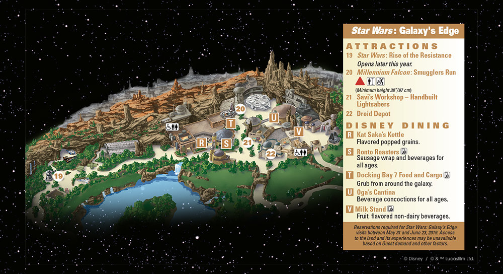 Map of Star Wars: Galaxy's Edge at Disneyland Park