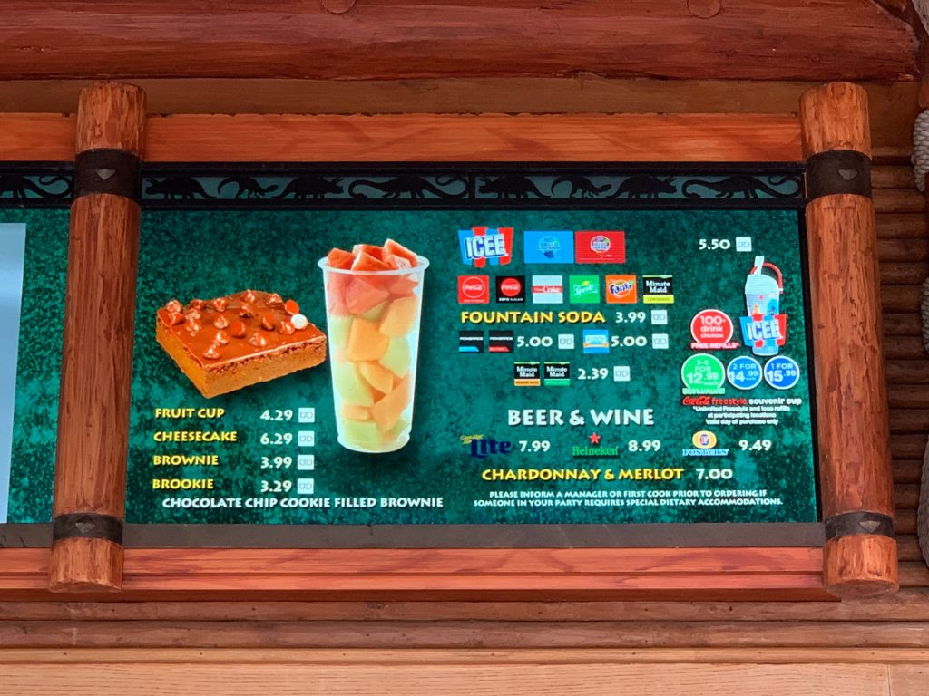 Refillable drink logo on menu