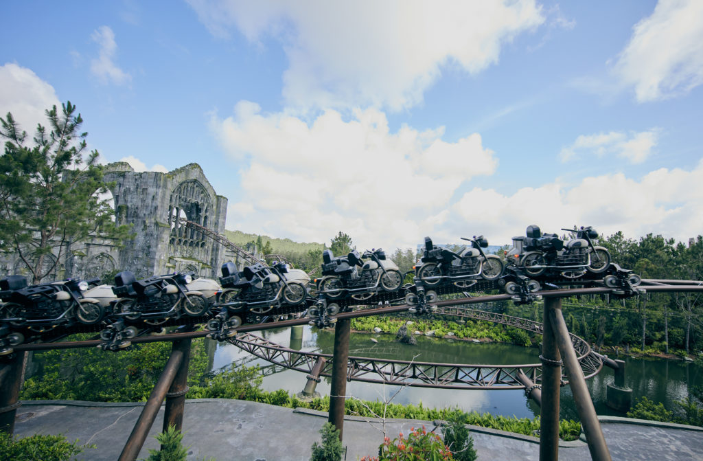The ride vehicles of Hagrid's Magical Creatures Motorbike Adventure