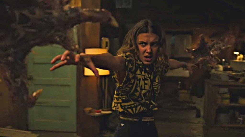 "The Mind Flayer attacks Hopper's cabin in ""Stranger Things 3"""