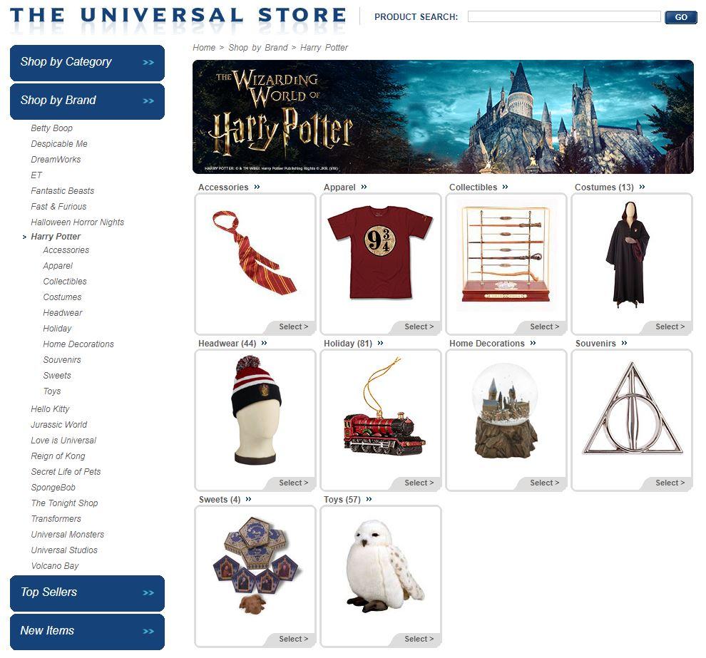Universal Orlando's online store